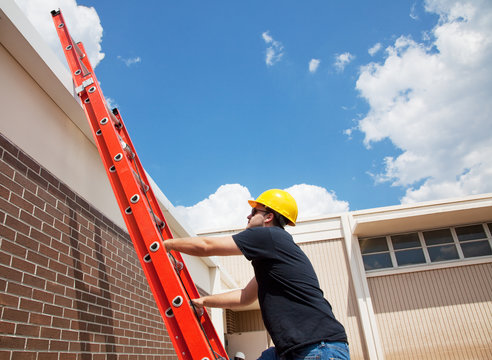 Worker Climbing Up