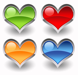 Four colourful glossy hearts