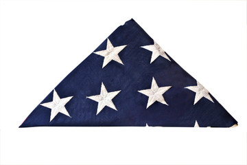 Folded flag of the United States isolated with clipping path