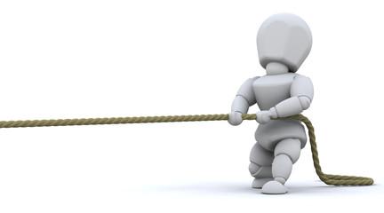 Man pulling on rope