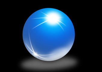 Glaskugel mit Lichtstrahlen