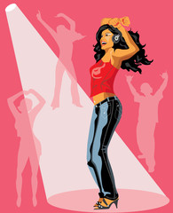Vector illustration of dancing girl.
