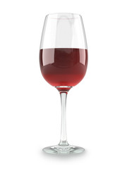Glass dishware with a red wine