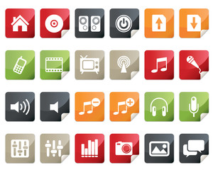 Internet and Multimedia Icon Set. Tag and Label Style