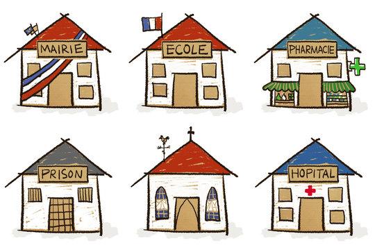 6 croquis de maisons - institutions