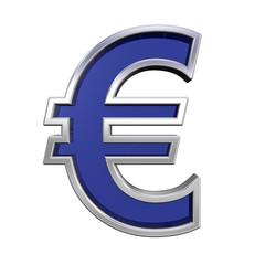Euro sign from blue glass with chrome frame alphabet set