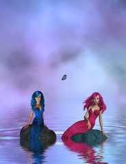 Photo sur Aluminium Mermaid PINK AND BLUE MERMAIDS SITTING ON ROCKS