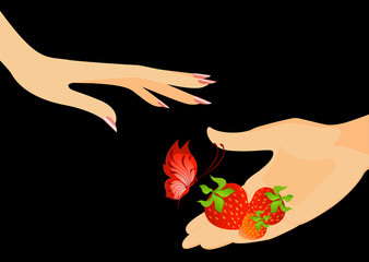 The man's hand gives a strawberry with the butterfly
