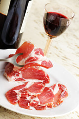Ham and red wine