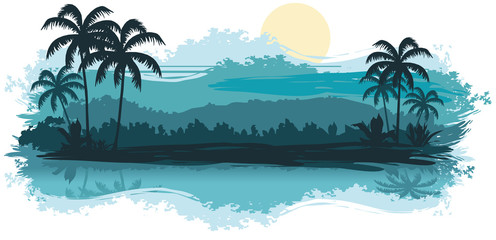 Tropical landscape in turquoise tones
