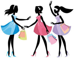 Silhouettes  girls with shopping bags