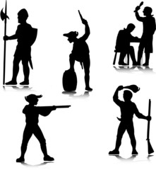 historical pepople vector silhouettes
