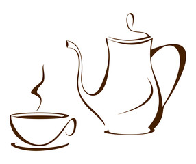 Coffee pot with cup on white background