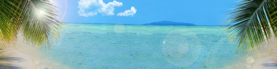 Printed roller blinds Caribbean tropical beach background banner