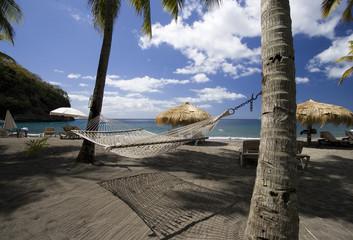 Hammock on beach, St. Lucia