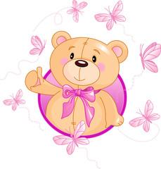 Canvas Prints Fairytale World Very cute Teddy Bear waiving hello