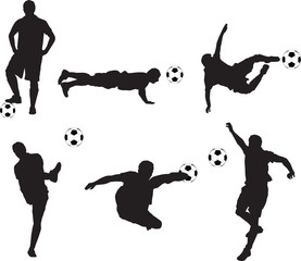 set of detailed illustration silhouettes of soccer players
