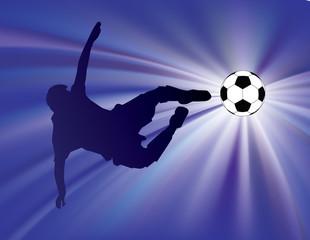 football player kicks soccer ball with flying kick