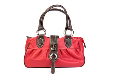 red leather bag front view