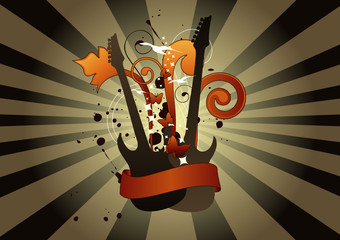 Abstract guitars with banner for your text.