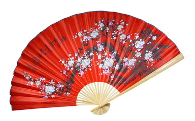 red Chinese fan on a white background