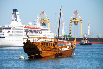 Oman, harbor with dhow