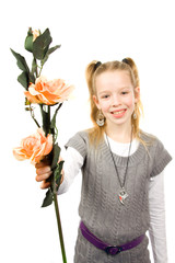 Girl gives flower isolated on white background