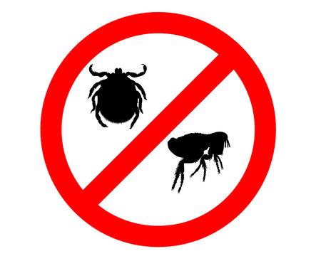 Verbotschild für Flöhe und Zecken
