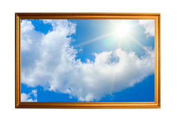 golden frame filled with sky