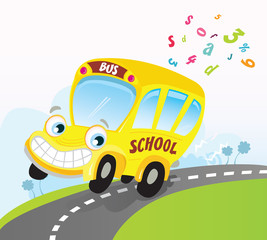 Yellow school bus. Vector Cartoon Illustration.