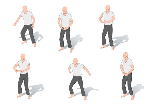 Illustrations of positions of the Chinese gymnastics a chi kung