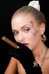 A cigar smoking girl