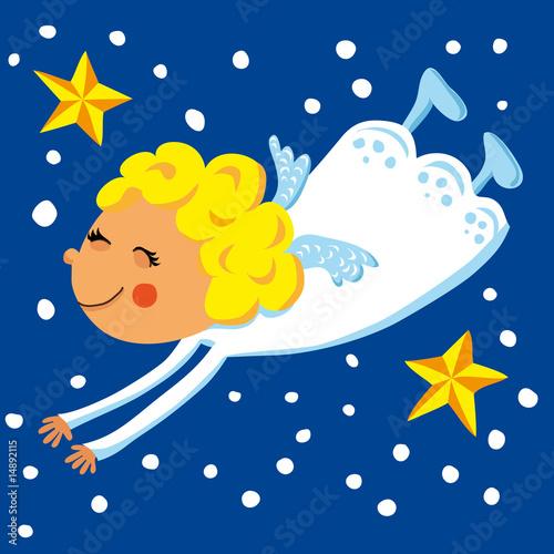 kleiner engel fliegt zu weihnachten am himmel stockfotos. Black Bedroom Furniture Sets. Home Design Ideas