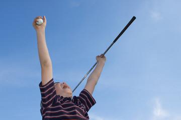 Boy Celebrating Golf Victory