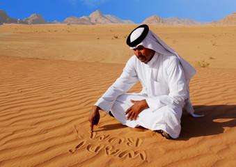 arabian in wadi rum desert jordan