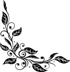 border, filigrane Ranke mit Blättern, Herbst