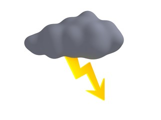 Storm cloud with thunderbolt isolated on white