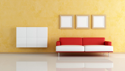 red and white sofa  in a orange living room -rendering
