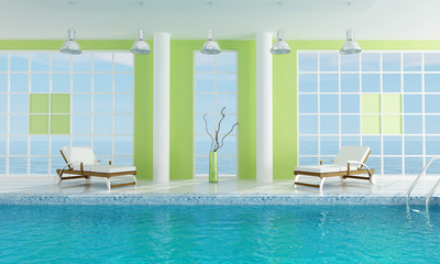 Luxury  green swimming pool -rendering