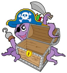 Fotorolgordijn Piraten Pirate octopus with chest
