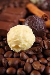 pralinen mit kaffeebohnen,schokolade und zimt