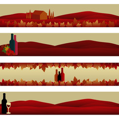 Set of Banners: Wine Theme