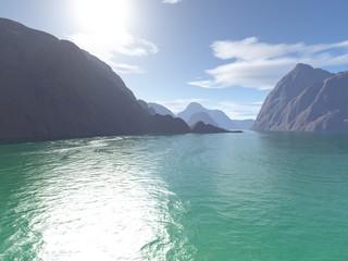 Landschaft mit türkisfarbigem Meer