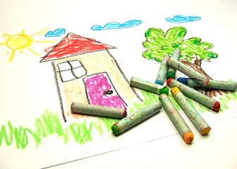 Kid's painting with colour chalks