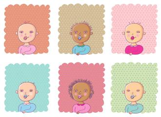Newborns. Cartoon set