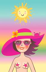 Beautifull girl smiling under sun in vacation