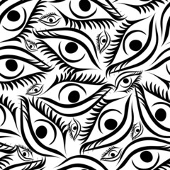 Seamless background with free hand eyes