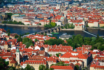 View of Charles Bridge in Prague from Petrinska  tower