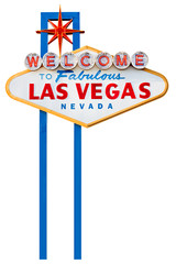 Fotorollo Las Vegas welcome to fabulous las vegas sign isolated on white