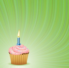 Birthday Green Vector Background. Cupcake Collection.